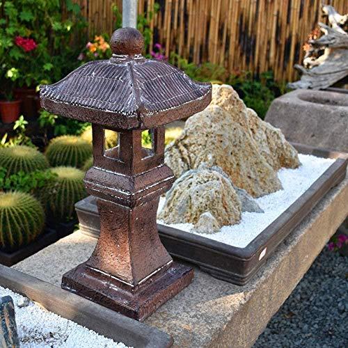 HTRN Japanese Solar Pagoda Garden Ornament Pagoda Zen Lantern Buddha Decor Statue,Grey+Height60.5cm-A