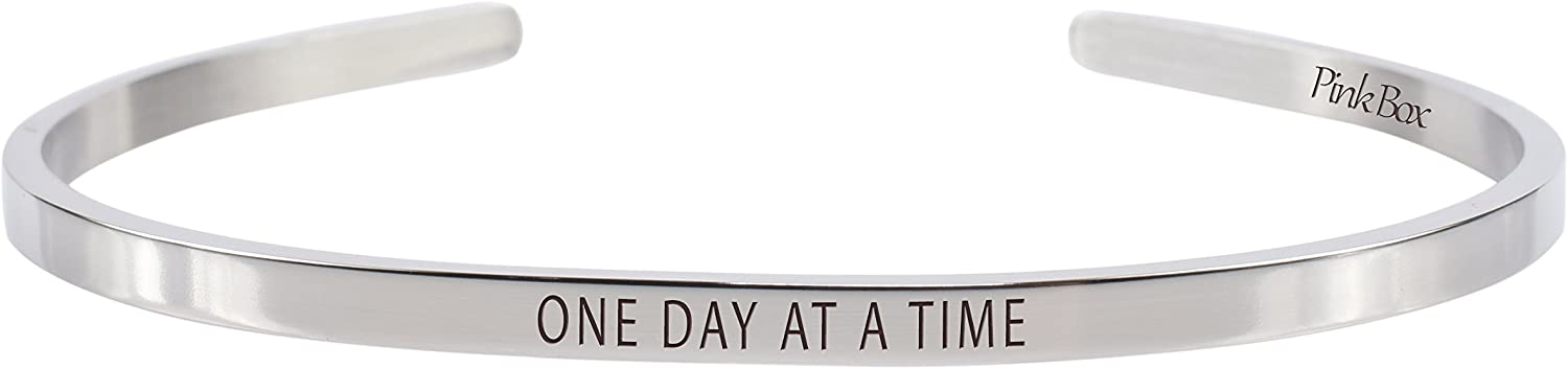 Pink Box 3mm Solid Stainless Steel Cuff Bracelet - One Day at A