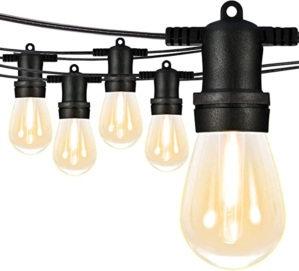 SUNTHIN 96Ft LED Outdoor String Lights S14 Black Hanging Loops With 32 Sockets And 33 Shatterproof LED Bulbs Included 1 Spare Plastic Bulbs 2700K ETL Approved For Patio Porches Bistro