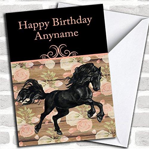 Zwarte Friese Paard Aangepaste Verjaardag Groeten Kaart- Verjaardagskaarten/Dieren, Wildlife & Huisdieren Kaarten