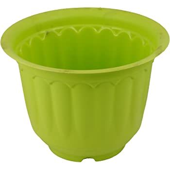 Gardens Need Jasmine Pot with Bottom Tray Set (10-inch, Lemon Green, 3-Pieces)