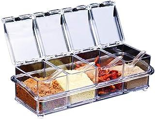 de ventilador transparente Seasoning rack de especias. – Tarros 4 piezas Acrílico condimento Caja – Storage Contenedor Condimentos Vinagrera Con Tapa Y Cuchara