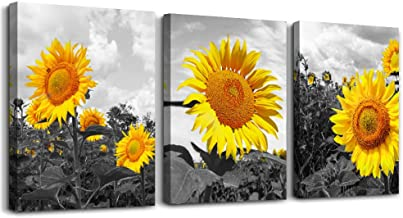 Black and white scenery yellow sunflower Canvas Prints Wall Art for Living Room kitchen Wall Artworks Bedroom Decoration, ...