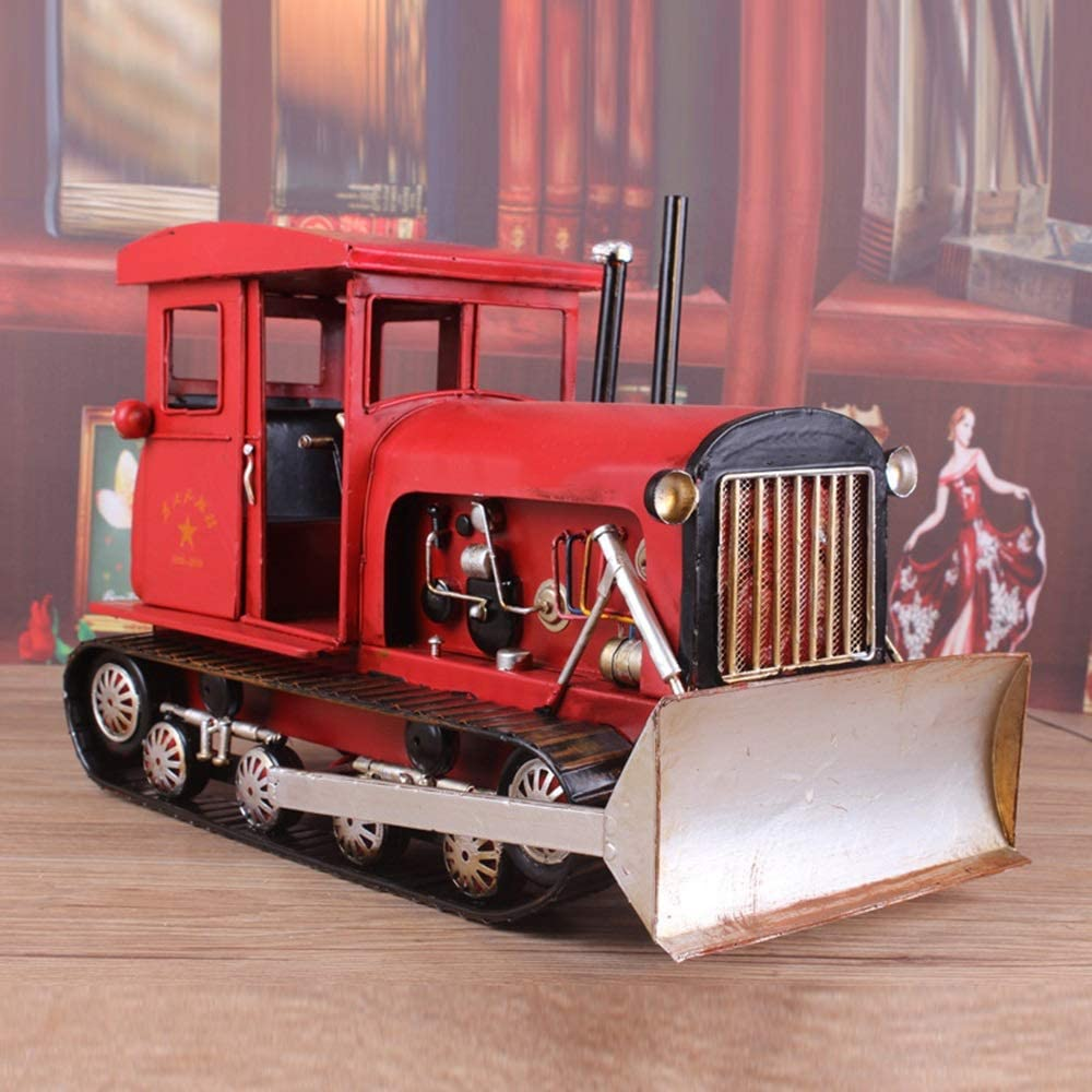 Yangmanini Manufacturer direct delivery Vintage Red Tractor Models Crafts Metal Ho Decoration Sale special price