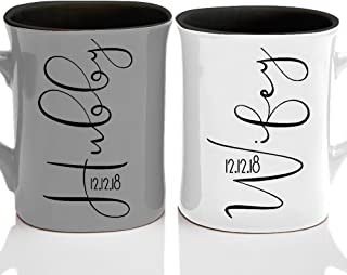 Personalized Couple Matching Coffee Mug - Free Laser Engraving - 7 different colors - Hubby & Wifey Coffee Mug