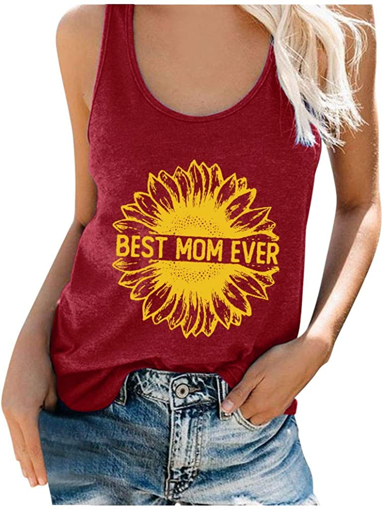 Hotkey Workout Tank Tops for Women, O Neck Sleeveless Vest Cami Top Best mom Ever Sunflower Printed T-Shirt Womens Camisole
