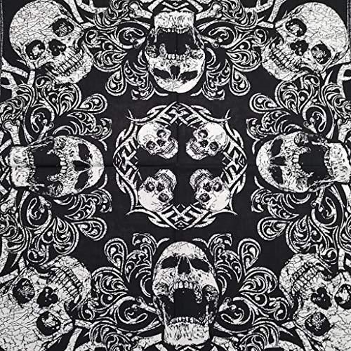 Pañuelo Bandana Calavera Negro y Blanco 55 x 55 cm