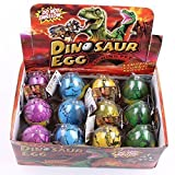 GracesDawn 12 Pack Dinosaur Egg Cute Magic Growing Dinosaur Egg Add Water Child Gift Hatching Inflatable Toy(Color Cracks)