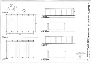 Historic Pictoric Structural Drawing Pavilion B, Elevations & Plans - Trenton Jewish Community Center, Day Camp Pavilions, 999 Lower Ferry Road, Ewing, Mercer County, NJ 66in x 44in