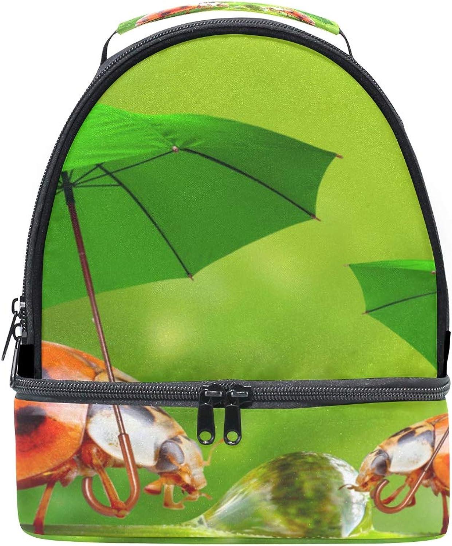 Schultertasche für Brotzeiten, doppeltes Design, Marienkäfer, verstellbarer Gurt, für Picknick B07HZ3PP5W  Globale Verkäufe