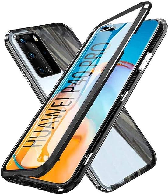 SIMao Carcasa para Huawei P40 Pro Funda 360 Grados Protección Integrada Protector de Lente de Cámara Anti-Rasguño Transparente Vidrio Templado Case Metal Bumper con Adsorción Magnética CoverNegro