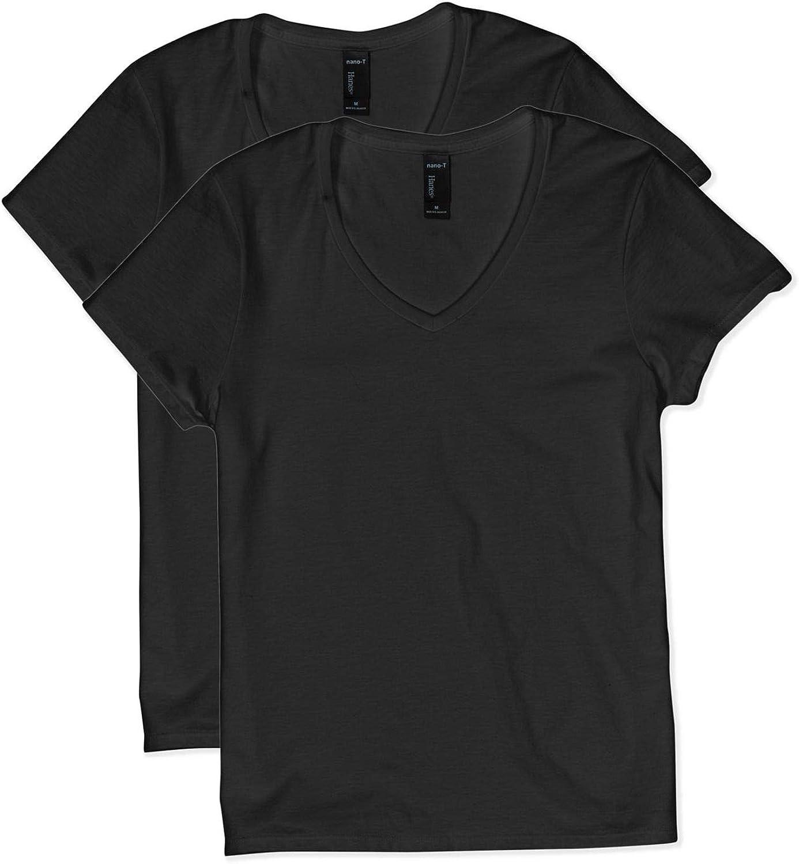 Hanes Women's Short Sleeve V-Neck t-Shirt, black1, 2X Large