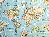 Mapa del mundo 3 cortinas tapicería de tela de algodón material diseñador - 280 cm de ancho (se vende por metros)