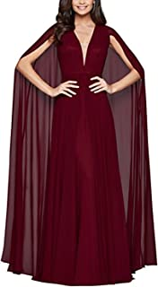 Women's Prom Dress Long With Cape V-Neck Formal Evening Ball Gowns 2019