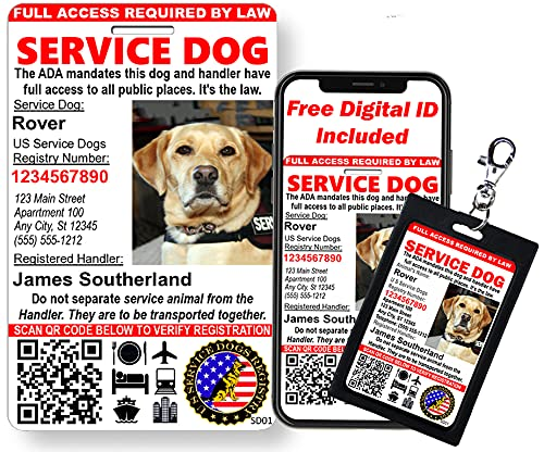 Just 4 Paws Custom Service Dog ID Card with QR Code & Security Seal  ...