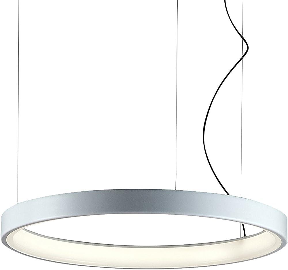 Martinelli luce lampada lunaop 80, lampada a sospensione a luce diffusa, struttura in alluminio verniciato. 2086/L/1/BI_bianco