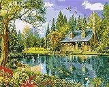 N\A Pintar por Numeros para Adultos Niños Paisaje De La Cabina del Lago del Bosque Pintura por Números con Pinceles Y Pinturas Decoraciones