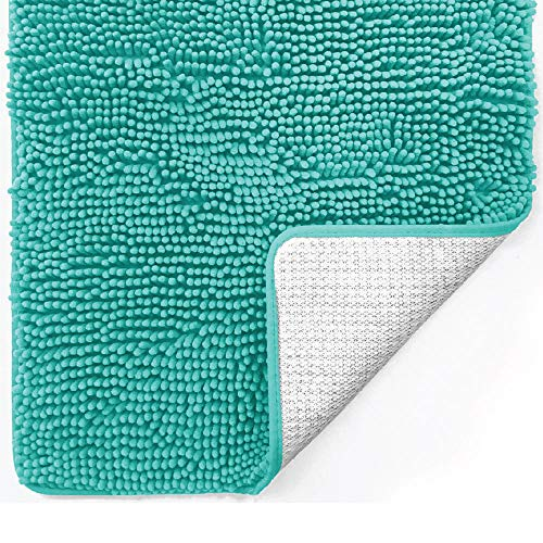 Gorilla Grip Original Luxury Chenille Bathroom Rug Mat, 17x24, Extra Soft and Absorbent Shaggy Rugs, Machine Wash Dry, Perfect Plush Carpet Mats for Tub, Shower, and Bath Room, Turquoise