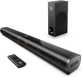 Bomaker 190W Sound Bar for TV, 2.1 TV Sound Bar with Subwoofer, 125dB, 6 EQ Modes, LED Display Off, 5 Bass Adjustable Surr...