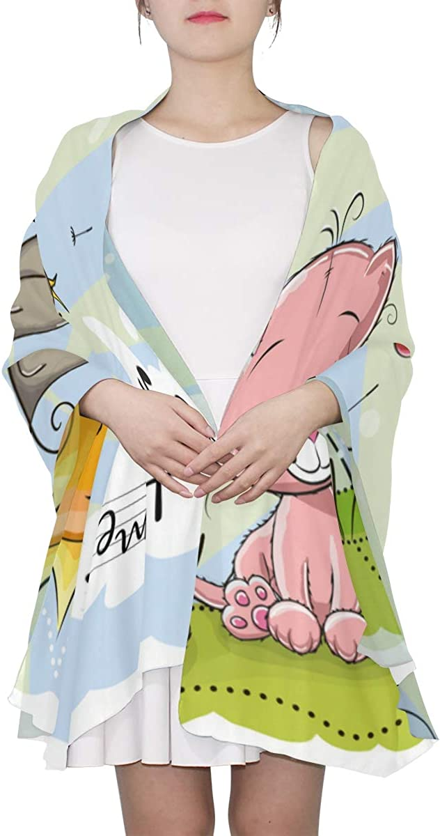 Cute Cartoon Animal On A Meadow Unique Fashion Scarf For Women Lightweight Fashion Fall Winter Print Scarves Shawl Wraps Gifts For Early Spring