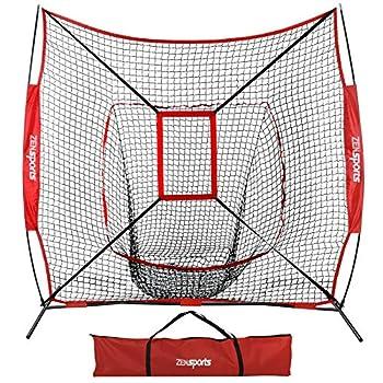 ZENY 7 ×7  Baseball Softball Practice Net w/Strike Zone Hitting Batting Catching Pitching Training Net w/Carry Bag & Metal Bow Frame Backstop Screen Baseball Equipment Training Aids