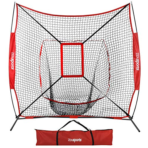 ZENY 7'×7' Baseball Softball Practice Net w/Strike Zone Hitting Batting Catching Pitching Training Net w/Carry Bag & Metal Bow Frame, Backstop Screen Baseball Equipment Training Aids