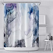 Marble Durable Waterproof Polyester Fabric Shower Curtain for Bathroom and Bathtubs Set with Hook, 72 x 72 inches
