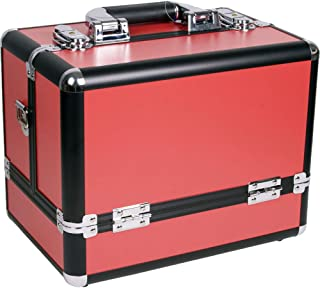 Sunrise Marcello Makeup Case Professional Nail Travel Organiser Box with 3 Tiers Accordion Trays, Red Matte, 2.3kg