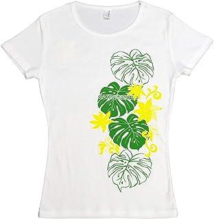 (ムームーママ) MuuMuuMama 半袖 フライス Tシャツ タヒチアンモンステラ柄 白×緑&黄色