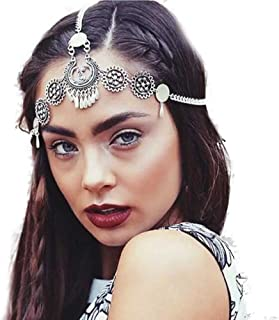 Missgrace Gypsy Vintage Silver Metal Chain Jewelry Headband Head Hair Band Tassels Pearl Bridal Head Chain for Women and Girls