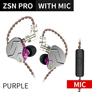 KZ ZSN Pro Headphones 1BA 1DD Over Ear Earbuds Balanced Armature Driver Ergonomic Comfortable Earphones 3.5mm Detachable Cable With MIC Purple US-KZ-ZSN-Pro-P-M