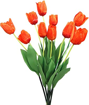 Fourwalls Synthetic Big Tulip Flower (Set of 10, Orange)