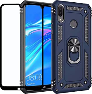 Strug for Huawei Y7 2019 Case,Heavy Duty Shockproof Protection Built-in 360 Rotatable Ring Magnetic Car Mount Case Cover with Tempered Glass Screen Protector for Huawei Y7 2019(Blue)