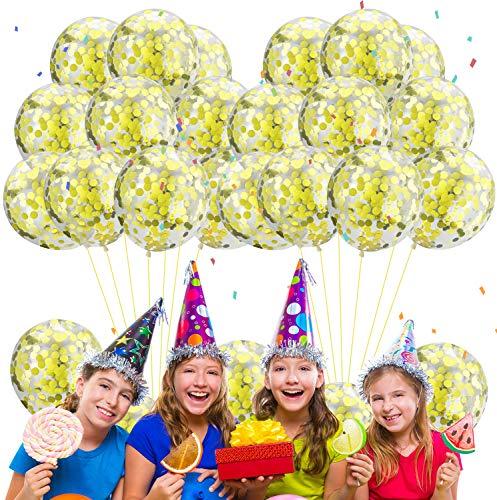 Qemsele Globos para fiestas de Niños, 50Pcs Globos Fiesta Cumpleaños Decoración 12inch Globos de latex con confeti dentro y Cintas, Decoraciones para fiestas Suministros Favores Regalo