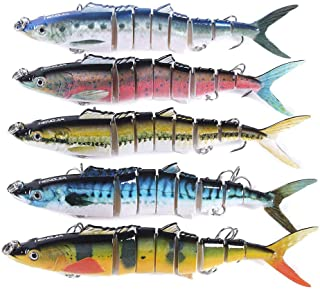 5 pcs Mixed Minnow Fishing Lures Bass Crank Bait Treble hook Baits Fishing Lure Bass Lures Trout Salmon with 3 Sharp Trebl...