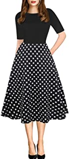 oxiuly Women Casual Dress Round Neck Soft Cotton Floral A-Line Midi Summer Dresses with Pockets OX262