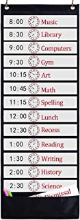 Godery Daily Schedule Pocket Chart, 13+1 Pocket, Scheduling Pocket Chart, 18 Dry-Eraser Cards, Educational Charts for Classroom Office Home Preschool Activity (Black)