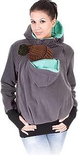 Monochef Women's Fleece Zip Up Maternity Baby Wearing Carrier Hoodie Sweatshirt Jacket