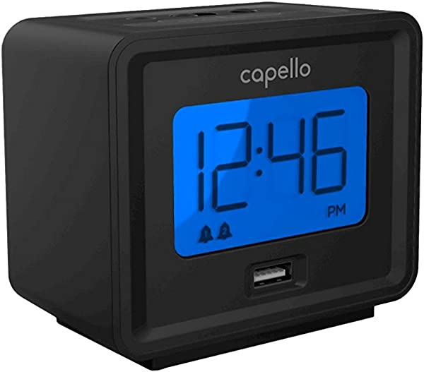 Compact Digital Alarm Clock With USB Charger Black Capello