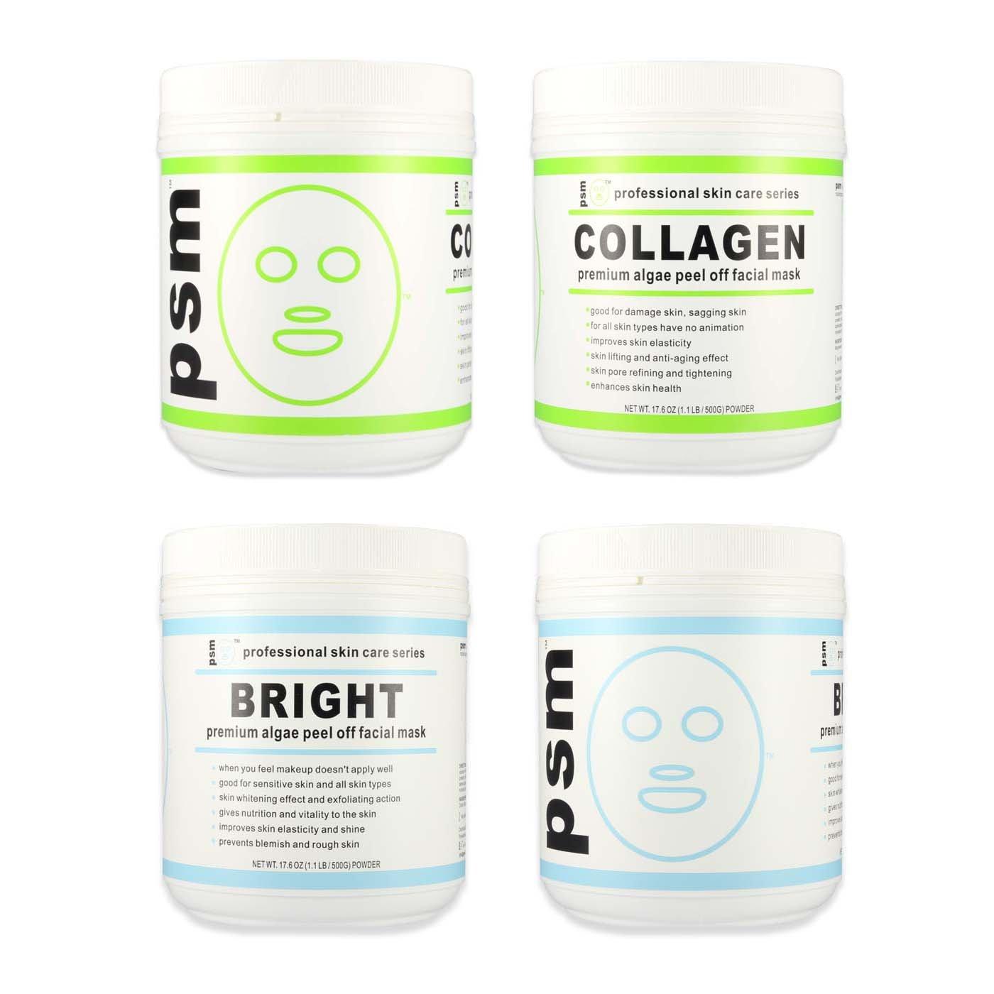 Set of 4 2 COLLAGEN BRIGHT 美品 Facia Peel Algae Off Premium スピード対応 全国送料無料 psm