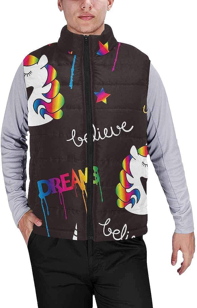 InterestPrint Men's Lightweight Outwear Vest for Hiking, Fishing Unicorns Dreams Magical XL