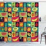 ABAKUHAUS Retro Duschvorhang, Pop-Art Grunge Früchte, Wasser Blickdicht inkl.12 Ringe Langhaltig Bakterie & Schimmel Resistent, 175 x 200 cm, Multicolor