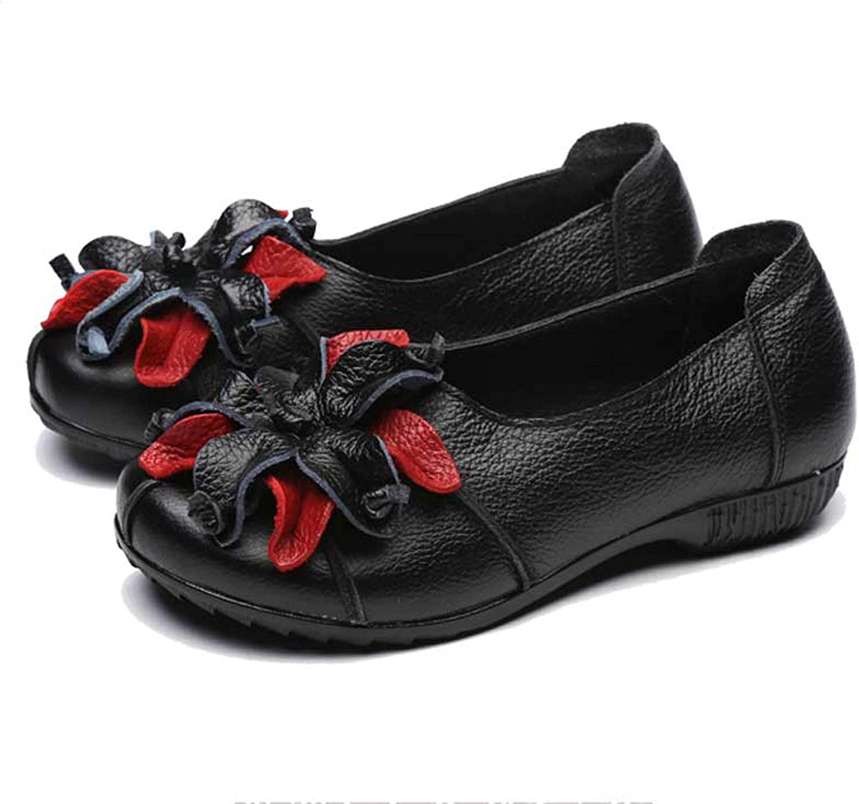 JIESENGTOO Genuine Leather Women Casual Flowers Ballet Flats Handmade Retro Summer Flat