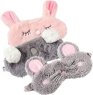 Shinywear 3 Pieces Cute Animal Eye Mask Plush Sleep Masks for Women Girls Kids Fuzzy Sleeping Traveling Patch Blinder Funny Vogue Party Costume Facial Mask - Rabbit,Koala,Mouse