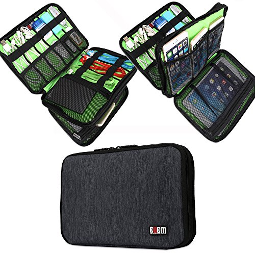BUBM 2 Layer Travel Cable Organizer Portable Electronics Accessories Cases for Hard Drives, Charging Cords, USB Charger