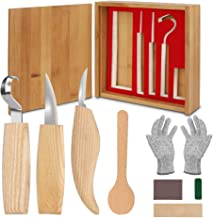 Ensemble d'outils de sculpture sur bois, 11 en 1, outils de sculpture sur bois – Comprend un crochet, un couteau sifflant,...