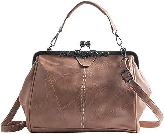 LUI SUI Frauen Retro Handtasche, PU Leder Geldbörse Vintage Top Griff Tasche Kiss Lock Crossbody Umhängetasche für Damen (...