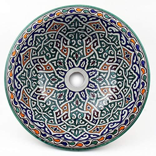 Casa Moro Orientalisches Keramik-Waschbecken Fes42 Ø 35 cm handbemalt | Marokkanisches Handwaschbecken für Küche Badezimmer Gäste-Bad | Einfach schöner Wohnen | WB35267