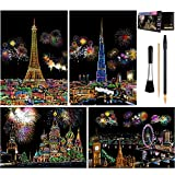 Rainbow Scratch Art Painting Paper (A4) for Adult & Kids, Night View Scratchboard, Engraving Art Set: 4 Sheets Scratch Cards & Clean Brush, Drawing Pen (Eiffel Tower / Big Ben / Moscow / Burj Khalifa)