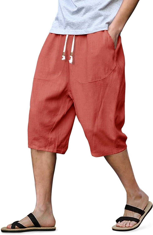 LASIUMIAT Mens Cotton Linen Pants Elastic Waist Casual Jogger Yoga Shorts with Drawstring